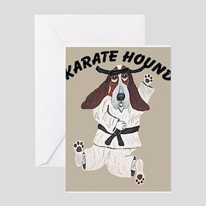 Basset Karate Hound Greeting Card