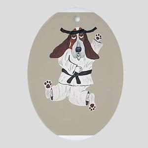 Basset Karate Hound Oval Ornament