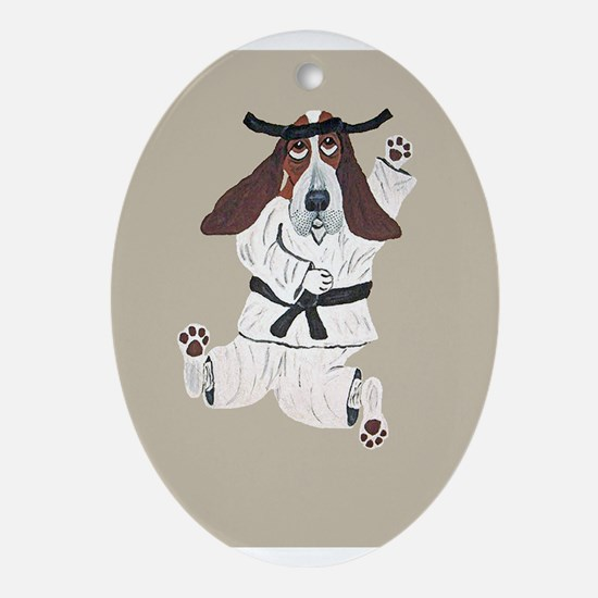 Basset Karate Hound Oval Ornament