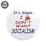 "No Socialism 3.5"" Button (10 pack)"