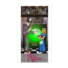 SteamPunk Alice Version 4 wit Rectangle Sticker