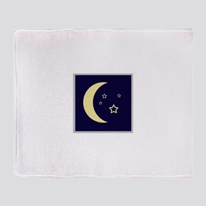 Moon and stars in night sky Throw Blanket