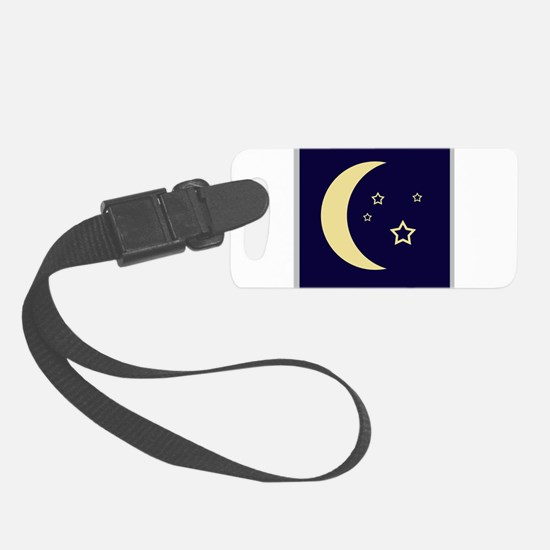 Moon and stars in night sky Luggage Tag