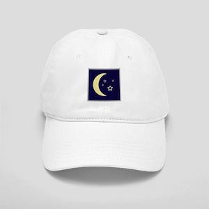 Moon and stars in night sky Cap