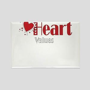 Heart Values Rectangle Magnet