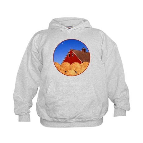 The Moon Over Red Barn Kids Hoodie