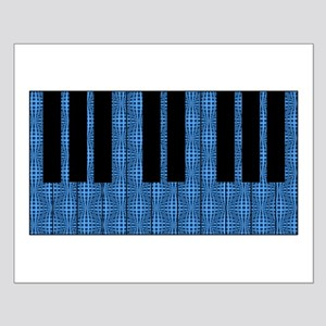 Blue Optical Illusion Piano Small Poster