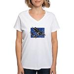 Gravity Sledder Blue Women's V-Neck T-Shirt