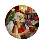 Santa at Home with his Great Dane Ornament (Round)