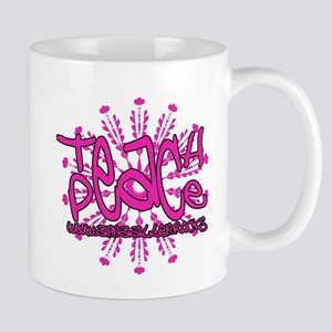 Anna Allen Teach Peace Pink Mugs