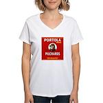 Portola Sardines Head Design Women's V-Neck T-Shir