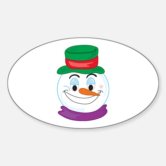 SNOWMAN SMILEY! Oval Decal