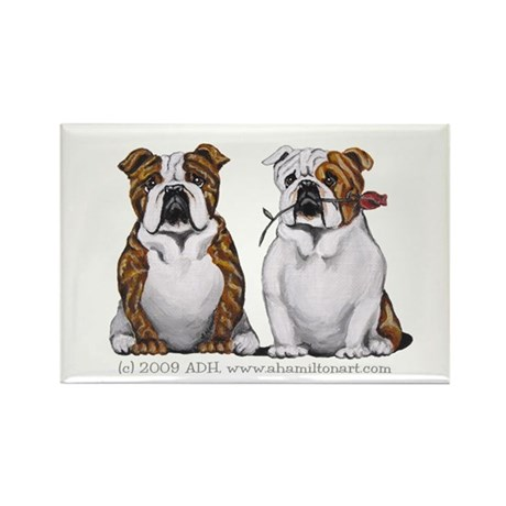 Bulldog Romance Rectangle Magnet