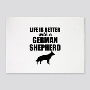 Life Is Better With A German Shepherd 5'x7'Area Ru