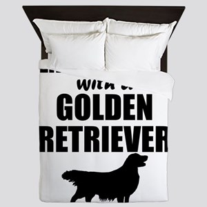 Life Is Better With A Golden Retriever Queen Duvet