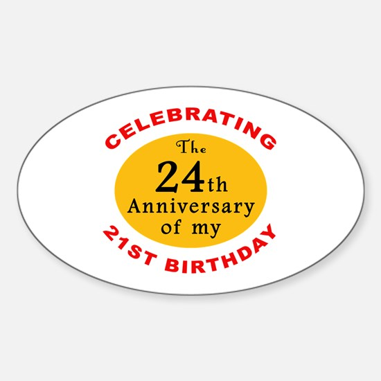 Celebrating 45th Birthday Oval Decal