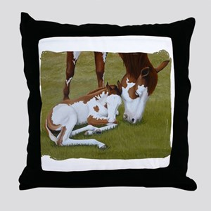 Paint Mare & Foal Throw Pillow