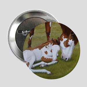 """Paint Mare & Foal 2.25"""" Button"""
