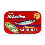 Sebastian Sardine Label Rectangle Sticker