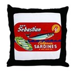 Sebastian Sardine Label Throw Pillow