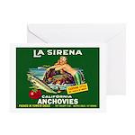 La Sirena Mermaid Sardine Lab Greeting Card