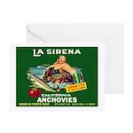 La Sirena Mermaid Sardine Lab Greeting Cards (Pk o