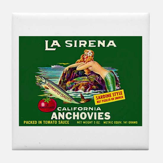 La Sirena Mermaid Sardine Lab Tile Coaster