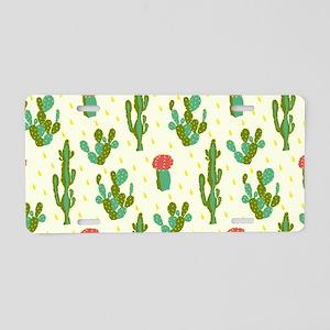 Cactus Pattern Aluminum License Plate