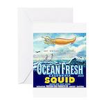 Vintage Squid Label 1 Greeting Card