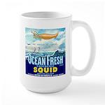 Vintage Squid Label 1 Large Mug