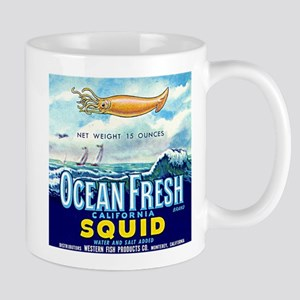 Vintage Squid Label 1 Mug