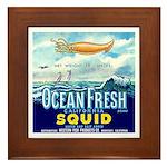 Vintage Squid Label 1 Framed Tile