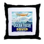Vintage Squid Label 1 Throw Pillow