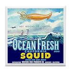 Vintage Squid Label 1 Tile Coaster