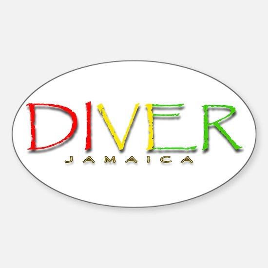 Diver Jamaica Sticker (Oval)