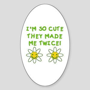So Cute Made Twice TWINS Oval Sticker
