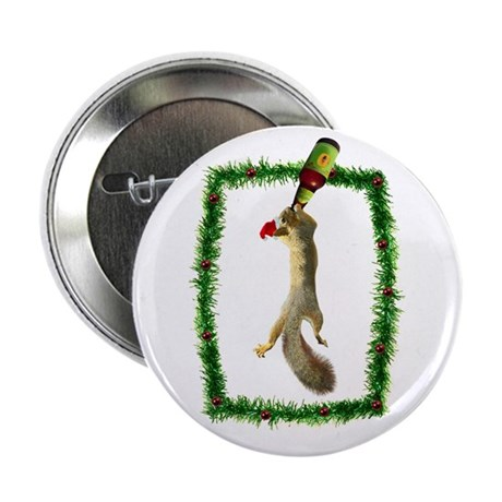 """Holiday Squirrel with Beer 2.25"""" Button"""