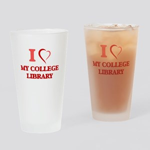 I love My College Library Drinking Glass
