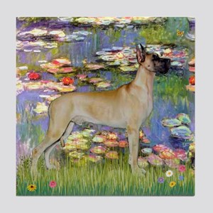 Monet's Lilies & Great Dane Tile Coaster