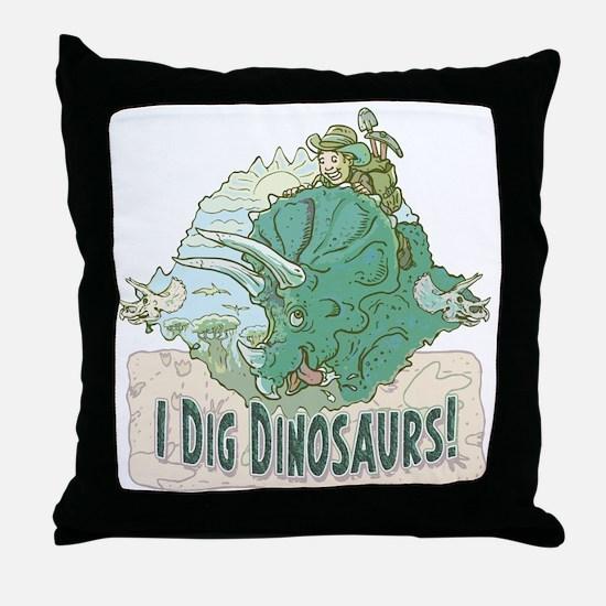 I Dig Dinosaurs Throw Pillow