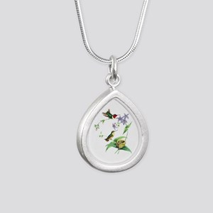 Hummingbirds Silver Teardrop Necklace
