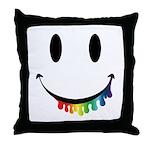 Smiley Juicy Rainbow Throw Pillow