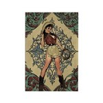 Ornate Vintage Pinup Cowgirl Rectangle Magnet (10