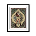 Ornate Vintage Pinup Cowgirl Framed Panel Print