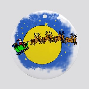 Santa's Sleigh and Full Moon Ornament (Round)