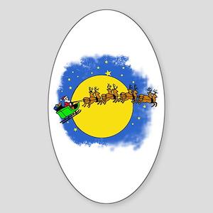 Santa's Sleigh and Full Moon Oval Sticker