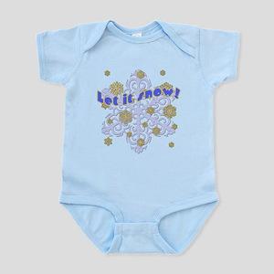 Blue & Gold Snowflakes Let it Snow Infant Bodysuit