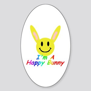 I'm a Happy Bunny! Oval Sticker