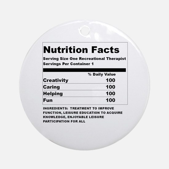Recreation Therapy Nutrition  Ornament (Round)