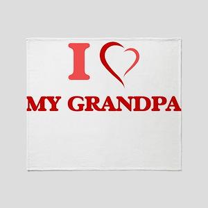 I Love My Grandpa Throw Blanket